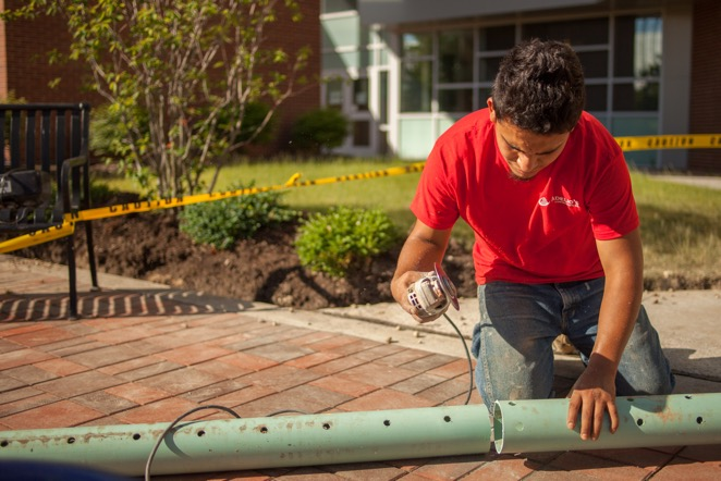 Cutting French Drain Pipe